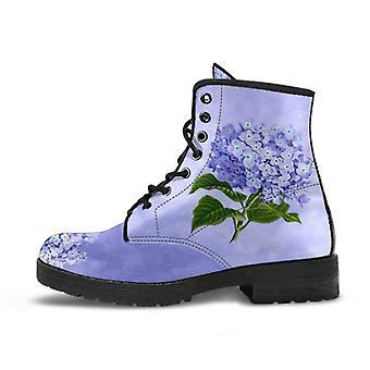 Combat boots - vintage style purple flowers | boho shoes, lace up boots, vegan leather, custom shoes
