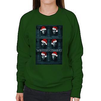 Winter Is Coming Game Of Thrones Faces Christmas Women's Sweatshirt