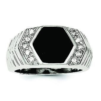 925 Sterling Silver Solid Polished Open back Mens Cubic Zirconia and Simulated Onyx Ring Jewelry Gifts for Men - Ring Si