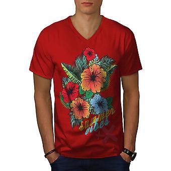 Summer Vibe Suny Men RedV-Neck T-shirt | Wellcoda