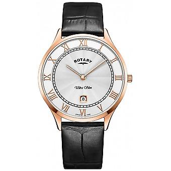 Rotary Mens Ultra Slim Black Leather Strap GS08304/01 Watch