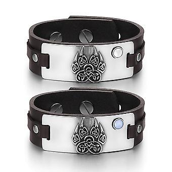 Aztekerne Celtic knob ulv pote amuletter kærlighed hvid blå simulerede katte øje brun læder armbånd