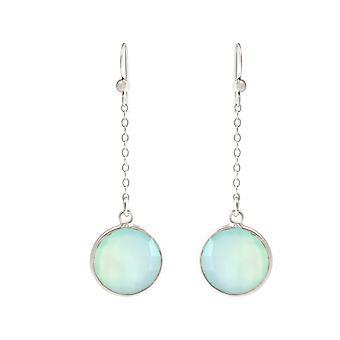 GEMSHINE Women's Earrings from 925 Silver Yoga Earrings Chalcedon Gemstones