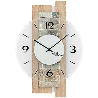Wall clock quartz analog modern wooden Sonoma optics with natural stone and mineral glass 40 x 28 cm