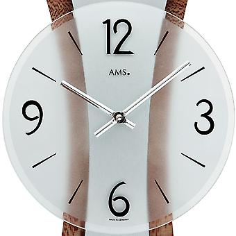 modern wall clock polished metal pad on decorative wood structure