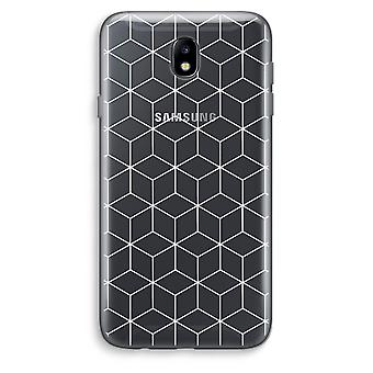 Samsung Galaxy J7 (2017) läpinäkyvä kotelo (pehmeä) - kuutiot musta ja valkoinen