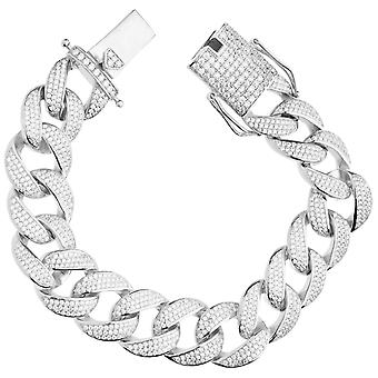 Premium Bling 925 sterling silverarmband - MIAMI CURB 18mm