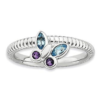 2.5mm 925 Sterling Silver Bezel Polished Rhodium plated Stackable Expressions Amethyst and Blue Topaz Butterfly Angel Wi