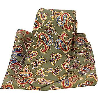 David Van Hagen Large Paisley Tie and Pocket Square Set - Moss Green