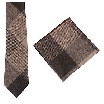Knightsbridge Neckwear stor sjekk slips og Pocket Square sett - svart/brun/Beige