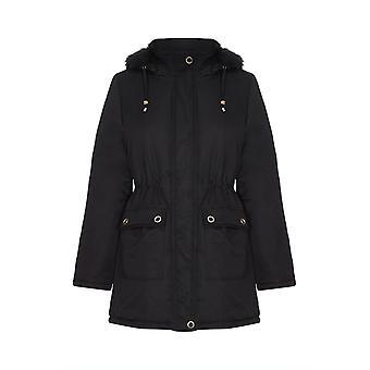Recorte de piel sintética con capucha abrigo