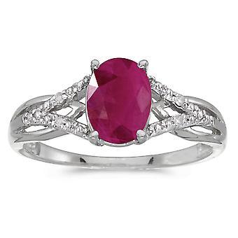 LXR 14k hvidguld oval rubin og diamantring 1,05 ct