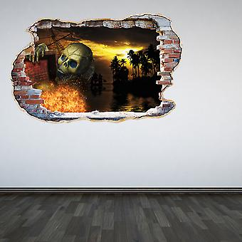 Full Colour Pirates Skeleton Caribbean Smashed Wall 3D Effect Wall sticker