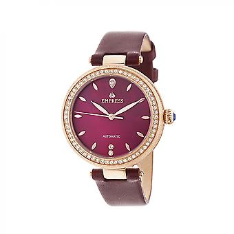 Empress Louise Automatic MOP Leather-Band Watch - Rose Gold/Burgandy