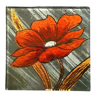 Set Of 4 Glass Coasters - Orange Flower