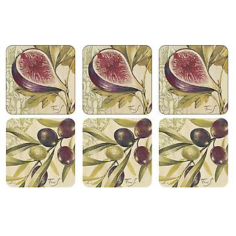 Pimpernel Olives & Figs Coasters, Set of 6
