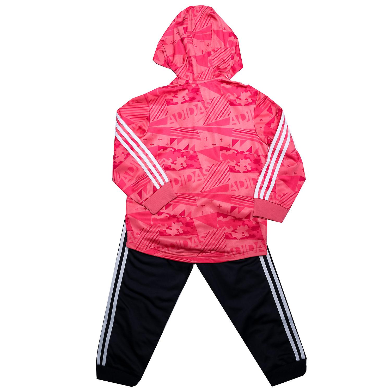Baby Girls adidas Shiny Hoody Tracksuit In Pink Jacket: Zip Fastening