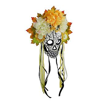 Colorful Day of the Dead Sugar Skull Costume Mask w/Floral Crown