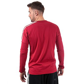 Mens Y-3 3Str Long Sleeve T-Shirt In Red White