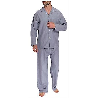 British Boxers Ash Herringbone Two Fold Flannel Pyjamas - Grey