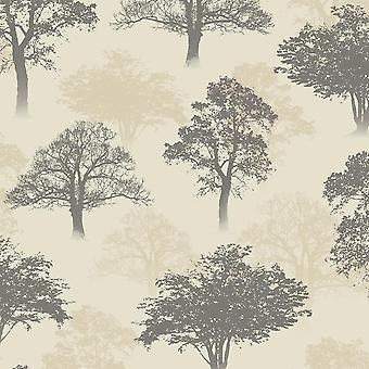 Woodland Forest Tree Nature Glitter Wallpaper Charcoal Beige Holden Decor