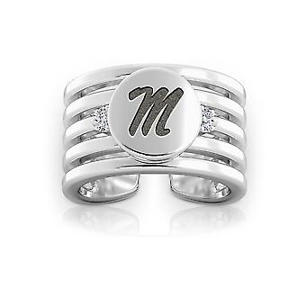 University Of Mississippi Engraved Sterling Silver Diamond Multiband Cuff Ring