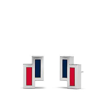 Washington Capitals Sterling Silver Asymmetrisk emalj Stud örhängen i blått och rött