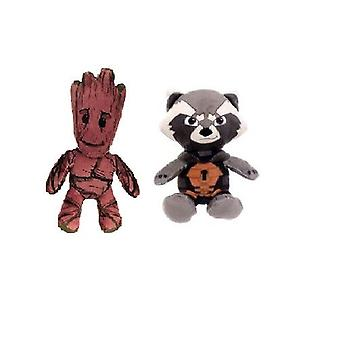 Marvel Guardians Of The Galaxy Small Plush Groot + Rocket Raccoon  Bundle