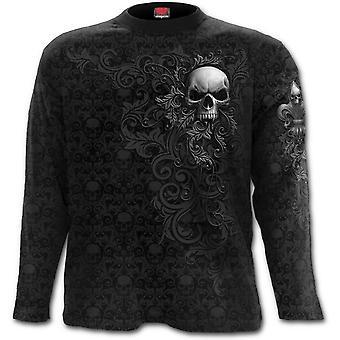 スパイラル - 頭蓋骨のスクロール - スクロール印象長袖Tシャツ