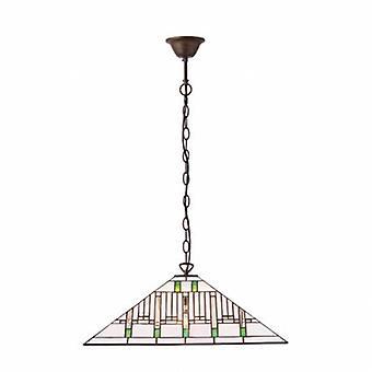 3 ljus stort tak hänge mörk brons, Tiffany glass