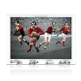 Wales Rugby Photo signed by Gareth Edwards, JPR Williams, Phil Bennett and Barry John