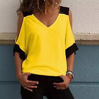 Off skulder casual patchwork Halv ærmet skjorte bluse