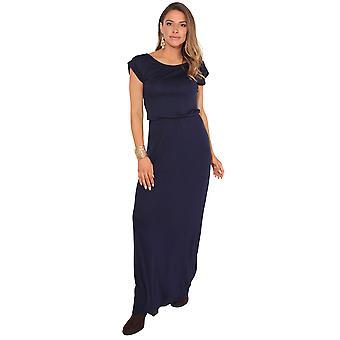 KRISP KRISP Turn Up chauve-souris manches haute taille longue Jersey maxi robe fête d'été 3269