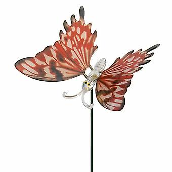 Red Realistic Butterfly Plant Pot Stick
