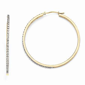 14k Yellow Gold Polished Diamond Fascination Large Round Hinged Hoop Earrings Jewelry Gifts for Women
