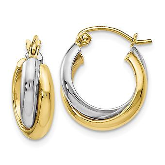 10k Two Tone Gold Polished Hinged Hoop Earrings Measures 15x16mm Wide 9mm Thick Jewelry Gifts for Women
