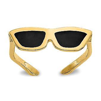 14 k Gelbgold poliert emaillierte Sonnenbrille Zehen Ring Schmuck Geschenke für Frauen
