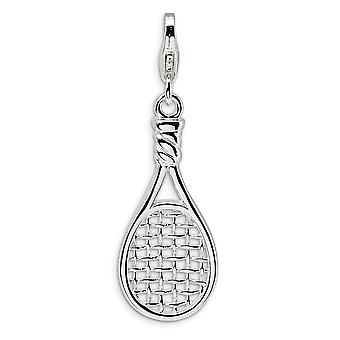 925 Ayar Gümüş Rodyum kaplama Fancy Istakoz Kapatma 3 D Cilalı Tenis Raket Istakoz Toka Charm Kolye Nec
