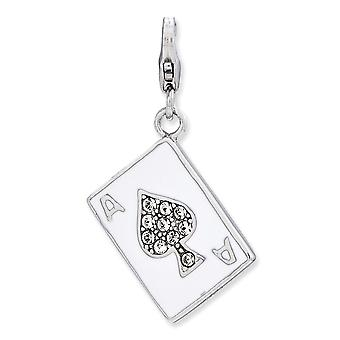 925 Sterling Silver Rhodium plated Fancy Lobster Closure Enameled 3 d Ace With Lobster Clasp Charm Pendant Necklace Jewe