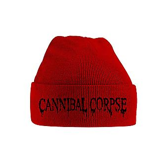 Cannibal Corpse Beanie Hat Black Band Logo new Official Red Embroidered