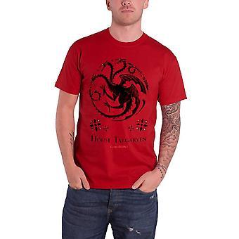 لعبة العروش تي شيرت البيت Targaryen شعار الرجال الرسمية الحمراء الجديدة