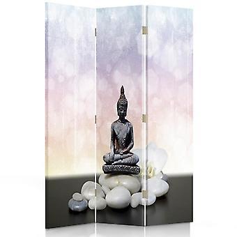 Raumteiler, 3 Paneele, Doppelseitig, Drehbar 360, Leinwand, Buddha 5
