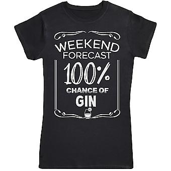 Weekend voorspelling 100% gin-Womens T-shirt