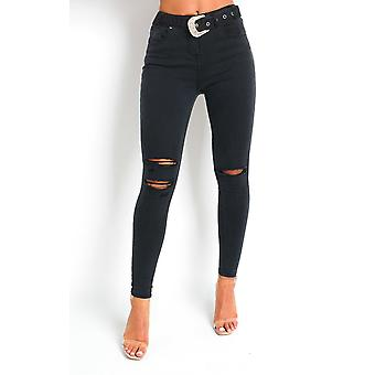 IKRUSH Womens Indie Distressed Western Buckle Jeans