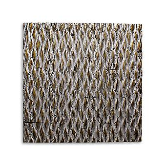 Raw Wood Look Silver Finish Square Wall Art