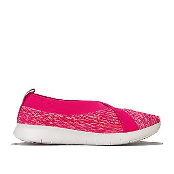 Womens Fitflop Artknit Ballerina Shoes In Psychedelic Pink