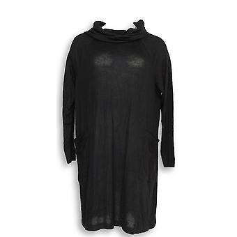 Cualquier persona vestido cepillado Hacci cuello de vaca con bolsillos negro A297314