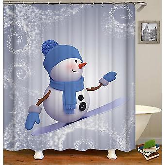 Snowboarding Snowman Shower Curtain