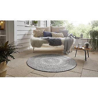 Tissu plat In- et Outdoor Carpet Almendro gris clair à l'aspect naturel Ronde 160 cm