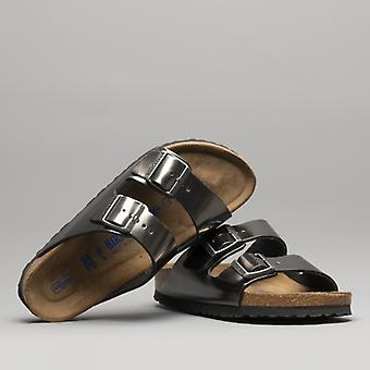 Birkenstock Arizona 1000295 (nar) Ladies Leather Two Strap Sandals Metallic Anthracite